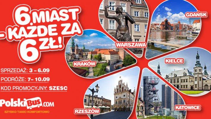 Kod promocyjny na PolskiBus: 6 miast każde za 6 PLN !