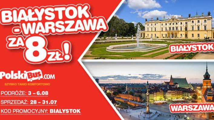 Kod promocyjny na PolskiBus: Białystok - Warszawa za 8 PLN