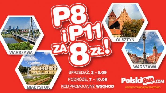 Kod promocyjny na PolskiBus: P8 i P11 za 8 PLN!