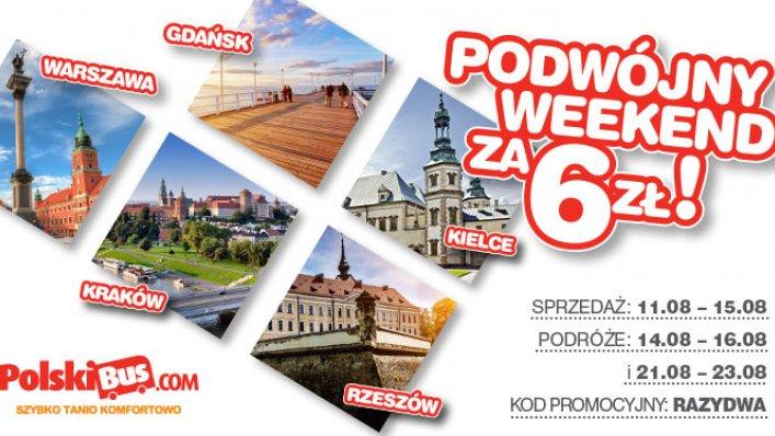 Kod promocyjny na PolskiBus: podwójny weekend za 6 PLN!