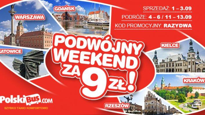 Kod promocyjny na PolskiBus: podwójny weekend za 9 PLN!