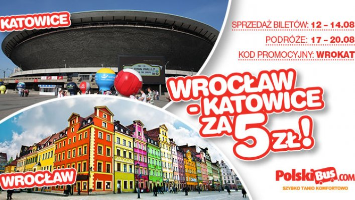 Kod promocyjny na PolskiBus: Wrocław - Katowice za 5 PLN