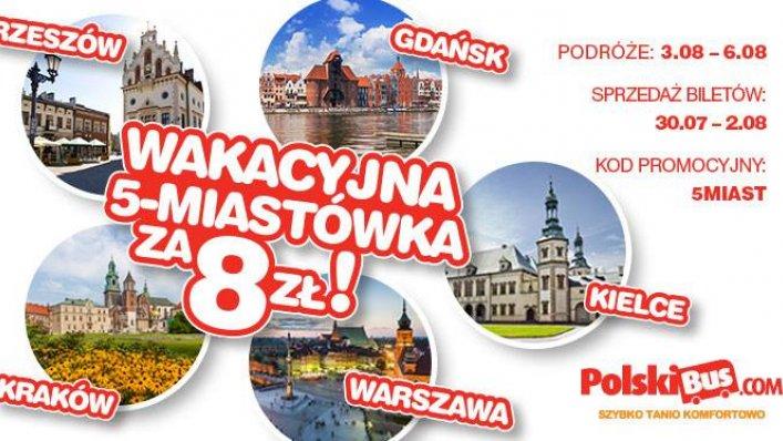 Kod promocyjny od PolskiBus: 5 miast po raz 2 za 8 PLN
