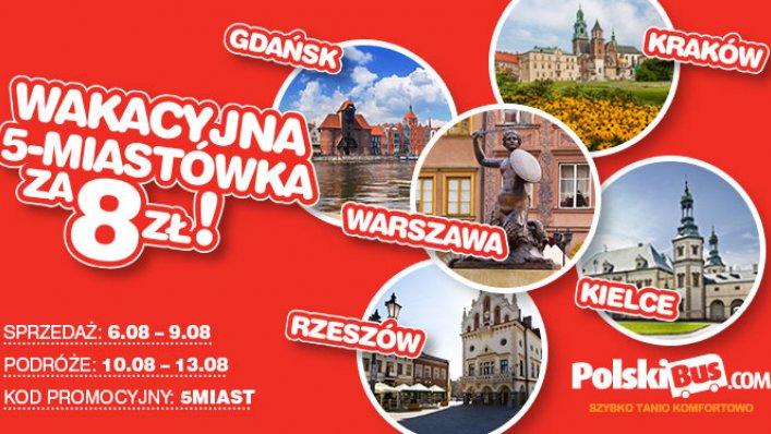 Kod promocyjny od PolskiBus: 5 miast po raz 3 za 8 PLN