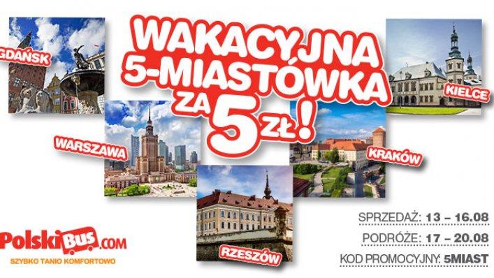 Kod promocyjny od PolskiBus: 5 miast po raz 4 za 5 PLN
