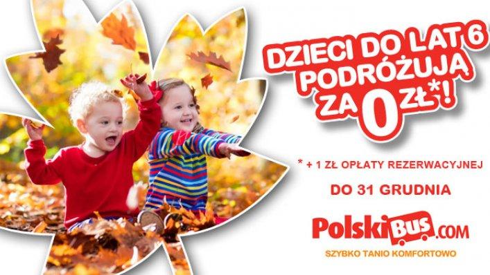 PolskiBus: dzieci do lat 6 do końca roku 2016 podróżują za 0 PLN !