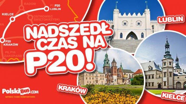 PolskiBus uruchamia nową linię ekspresową P20 Lublin - Kielce - Kraków