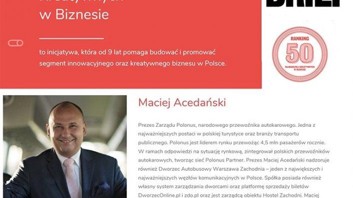 Prezes Polonus wśród 50 Najbardziej Kreatywnych w Biznesie!