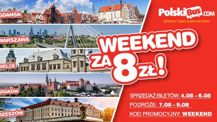 Weekendowy kod promocyjny od PolskiBus od 8 PLN